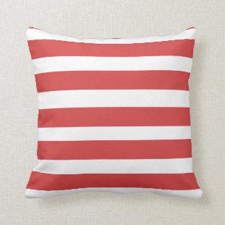 Coastal Red Strip Toss Pillow