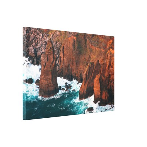 Coastal rock formations stretched canvas print