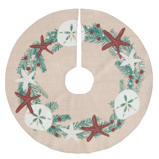 Coastal Rustic Beach Christmas Holiday Starfish Brushed Polyester Tree Skirt