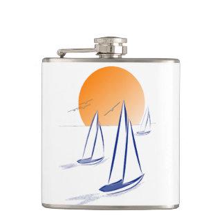 Coastal Sailing Yachts at Sunset Flasks