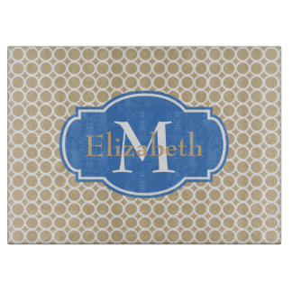 Coastal Sand and Blue Circle Monogram Cutting Board