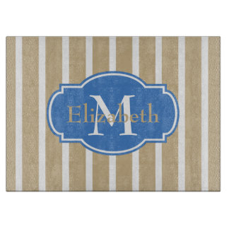 Coastal Sand and Blue Stripe Monogram Cutting Board