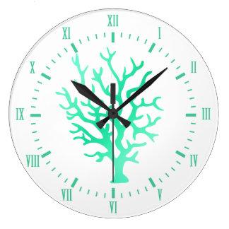 Coastal Sea Glass Green Coral & Roman Numerals Large Clock