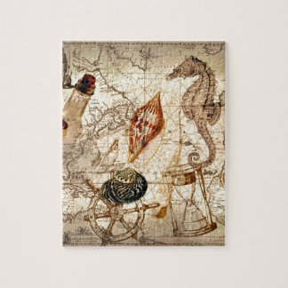 Coastal seahorse seashell Nautical Map Jigsaw Puzzle
