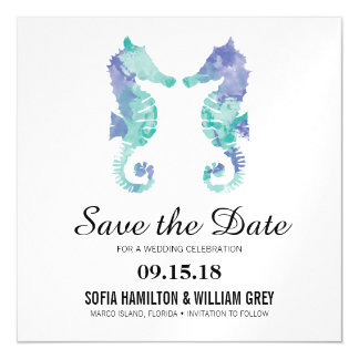 Coastal Seahorse Watercolor | Save the Date Card Magnetic Invitations