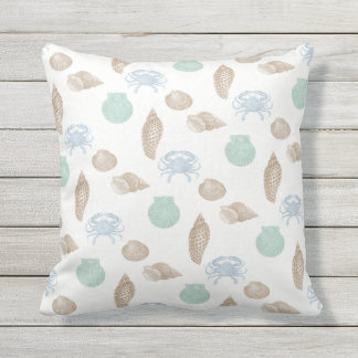 Coastal Seashells Pattern Pillow