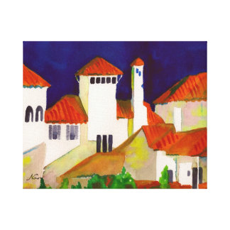 Coastal Seaside Town Gallery Wrapped Canvas