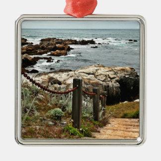 coastal steps zazzle Silver-Colored square decoration