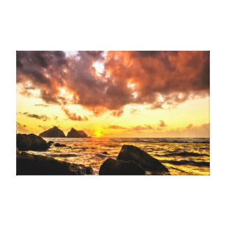 Coastal sunset stretched canvas prints