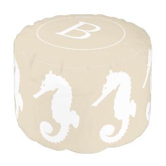 Coastal Taupe & White Seahorse | Monogram Pouf