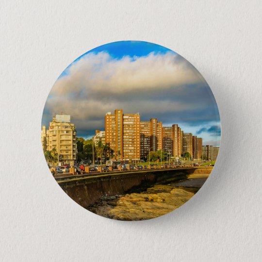 Coastal Urban Scene, Montevideo, Uruguay 6 Cm Round Badge