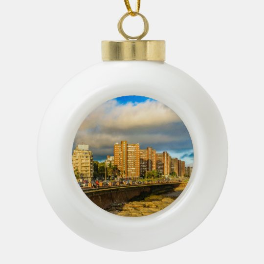 Coastal Urban Scene, Montevideo, Uruguay Ceramic Ball Christmas Ornament