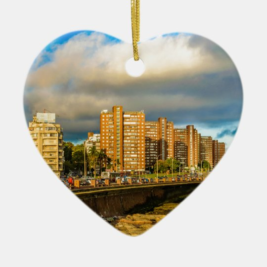 Coastal Urban Scene, Montevideo, Uruguay Ceramic Ornament