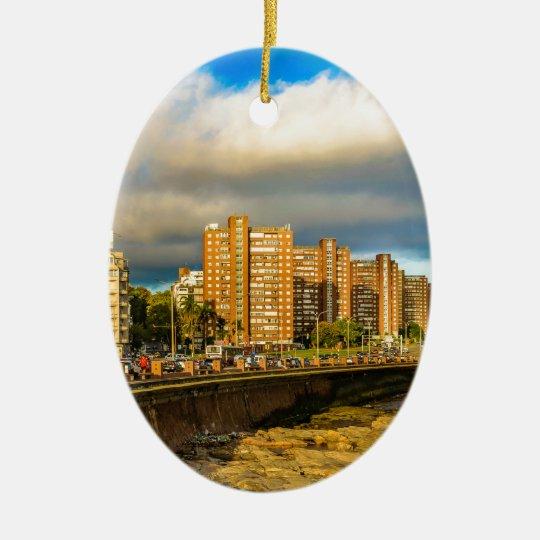 Coastal Urban Scene, Montevideo, Uruguay Ceramic Ornament
