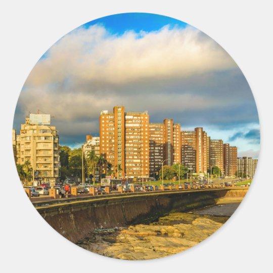 Coastal Urban Scene, Montevideo, Uruguay Classic Round Sticker