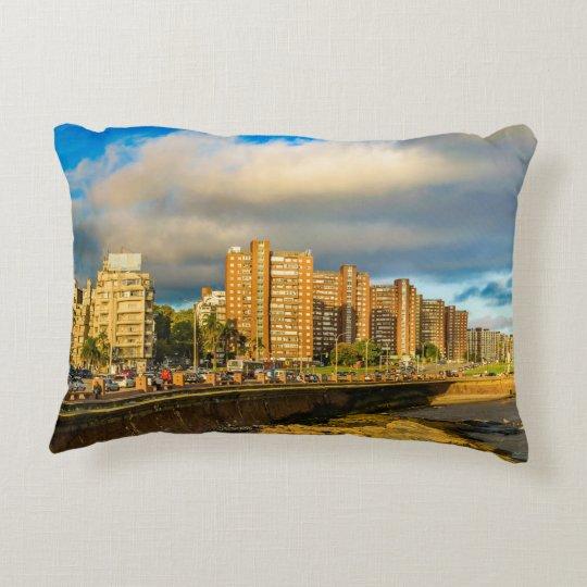 Coastal Urban Scene, Montevideo, Uruguay Decorative Cushion