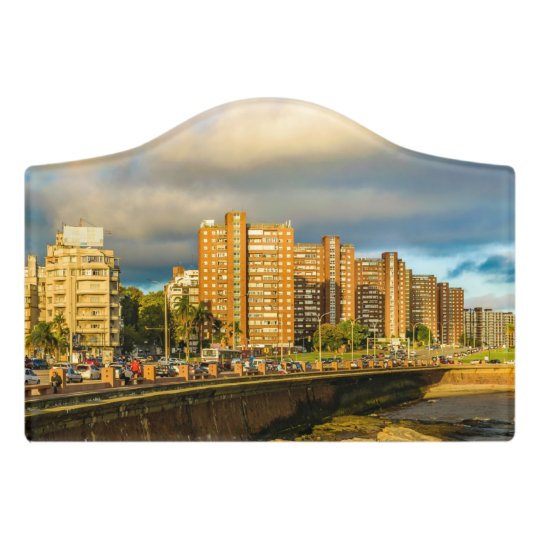 Coastal Urban Scene, Montevideo, Uruguay Door Sign