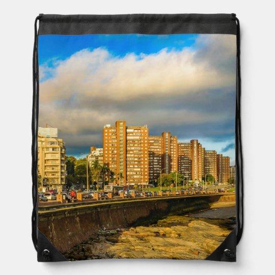 Coastal Urban Scene, Montevideo, Uruguay Drawstring Bag