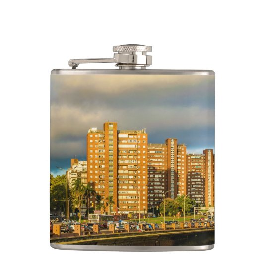 Coastal Urban Scene, Montevideo, Uruguay Hip Flask