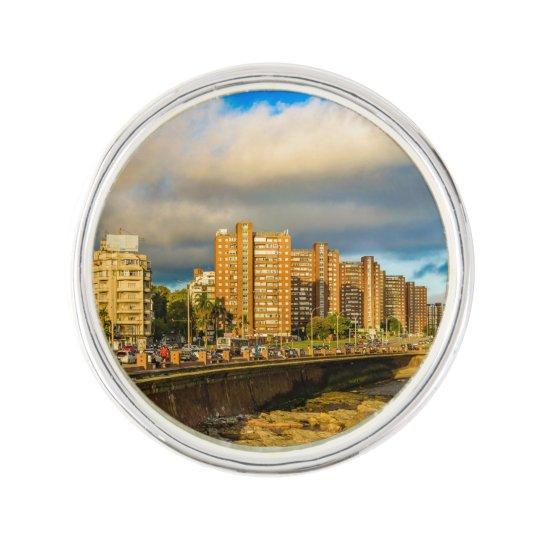 Coastal Urban Scene, Montevideo, Uruguay Lapel Pin