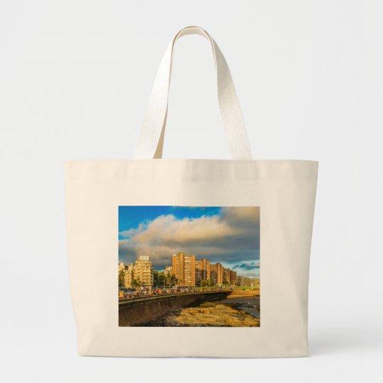 Coastal Urban Scene, Montevideo, Uruguay Large Tote Bag