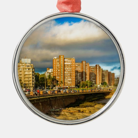 Coastal Urban Scene, Montevideo, Uruguay Metal Ornament
