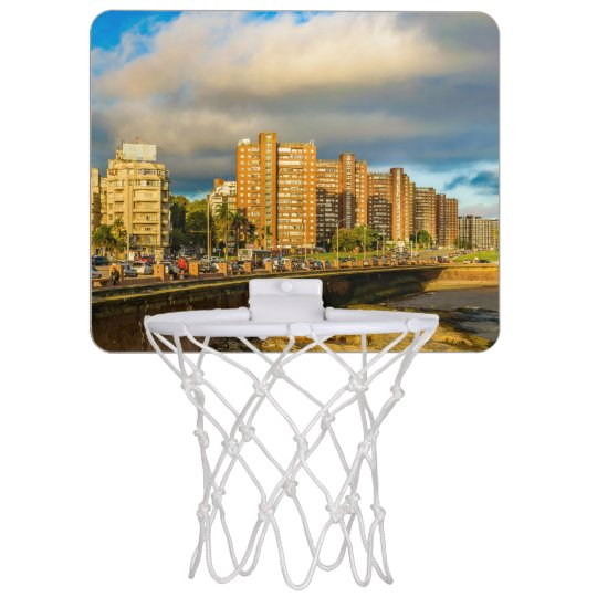 Coastal Urban Scene, Montevideo, Uruguay Mini Basketball Hoop