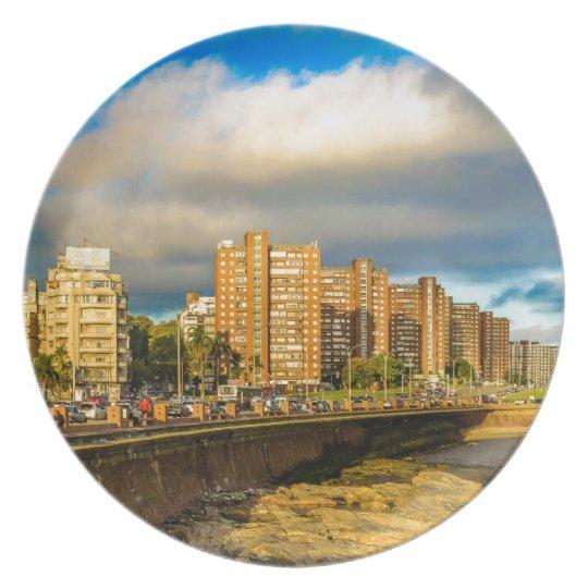 Coastal Urban Scene, Montevideo, Uruguay Plate