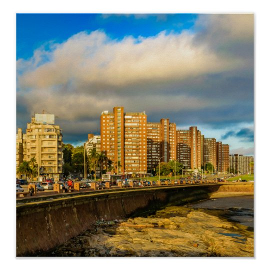 Coastal Urban Scene, Montevideo, Uruguay Poster
