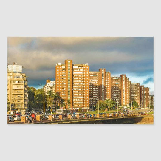 Coastal Urban Scene, Montevideo, Uruguay Rectangular Sticker