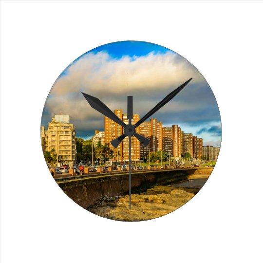 Coastal Urban Scene, Montevideo, Uruguay Round Clock