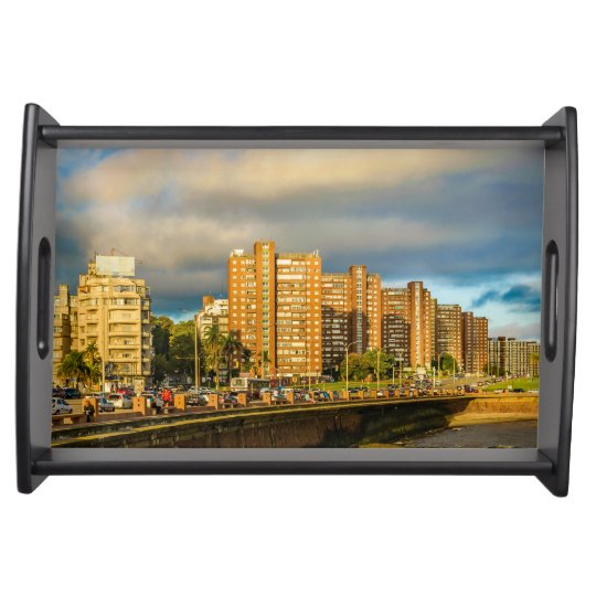 Coastal Urban Scene, Montevideo, Uruguay Serving Tray