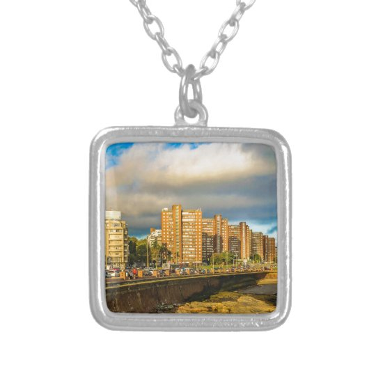 Coastal Urban Scene, Montevideo, Uruguay Silver Plated Necklace