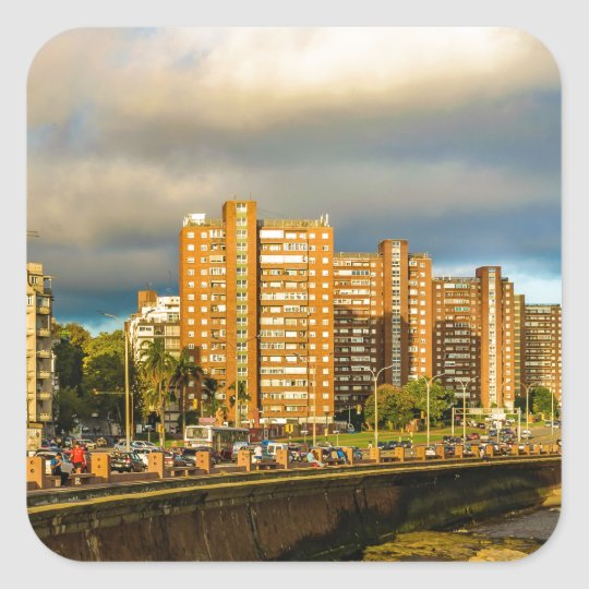 Coastal Urban Scene, Montevideo, Uruguay Square Sticker