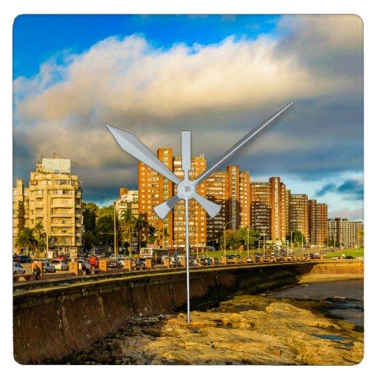 Coastal Urban Scene, Montevideo, Uruguay Square Wall Clock