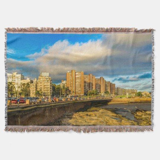 Coastal Urban Scene, Montevideo, Uruguay Throw Blanket