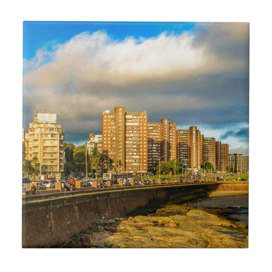 Coastal Urban Scene, Montevideo, Uruguay Tile