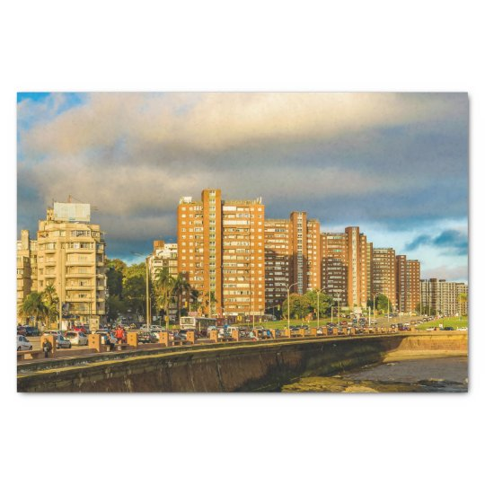 Coastal Urban Scene, Montevideo, Uruguay Tissue Paper