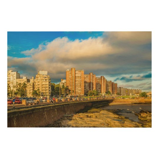Coastal Urban Scene, Montevideo, Uruguay Wood Wall Decor