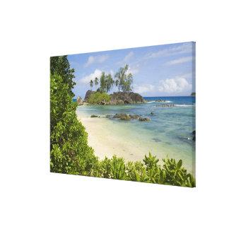Coastal view on Mahe Island Stretched Canvas Print