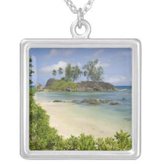 Coastal view on Mahe Island Silver Plated Necklace