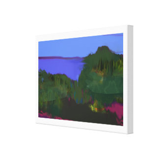 coastal view painting stretched canvas print