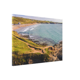 Coastal View Whitesands Bay Pembrokeshire Wales Stretched Canvas Print