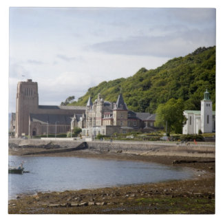 Coastal view with historic buildings, Oban, Large Square Tile