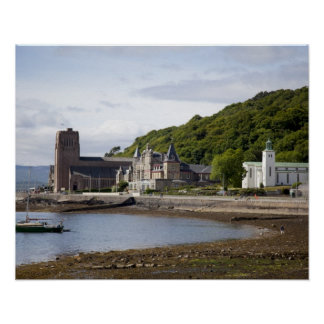 Coastal view with historic buildings, Oban, Poster