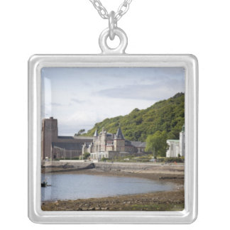 Coastal view with historic buildings, Oban, Square Pendant Necklace