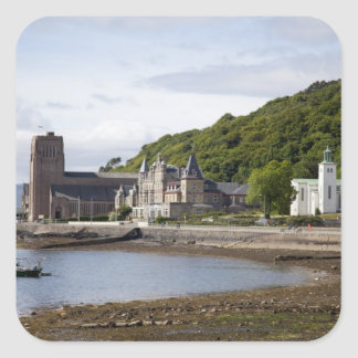 Coastal view with historic buildings, Oban, Square Sticker