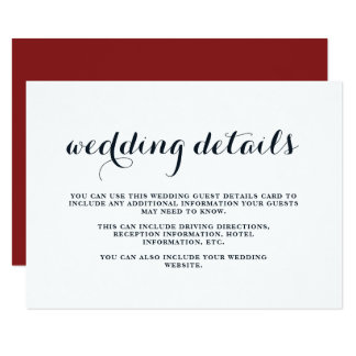Coastal Wedding Blue, Red, and White Guest Details Card
