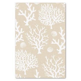 Coastal White Corals & Seashells Tissue Paper