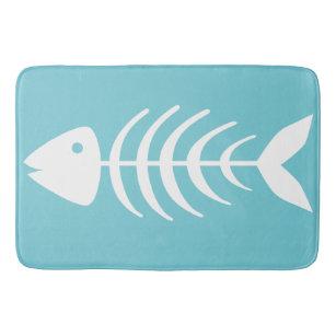 Coastal White Fish Bones Bath Mat
